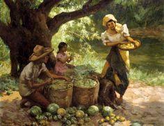 Under The Mango Tree Fernando Amorsolo(1892-1972,Filipino)
