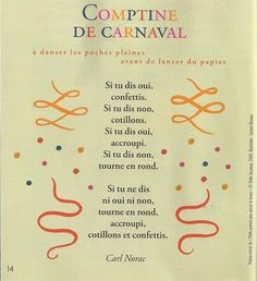 La comptine du carnaval (Carl Norac)