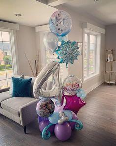 Frozen Themed Birthday Cake, Disney Princess Birthday Party, Frozen Themed Birthday Party, Disney Frozen Birthday, 4th Birthday, Frozen Party Decorations, Birthday Party Decorations, Birthday Balloons, Frozen Birthday Party