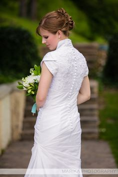 modest wedding gown back
