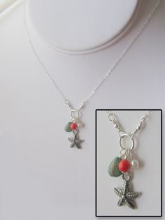 By the Sea - sterling silver starfish coral turquoise and pearl necklace