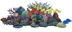 This wide hand-painted coral scene is a masterpiece of sea life harmony. One easy-to-apply wall sticker includes detailed corals, sea anemones and an array of fish. Use alone or combine with more of our sea life stickers. Kids Wall Murals, Wall Stickers Murals, Wall Decals, Wall Art, Sea Anemone, Ocean Themes, Sea And Ocean, Illustrations, Collage Illustration