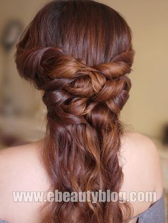 25 Gorgeous Half-Up, Half-Down Hairstyles.  Romantic Half Up Half Down    This beautiful half up style is soft, feminine and a little reminiscent of Downton Abbey.  Watch the video at EBeauty Blog.