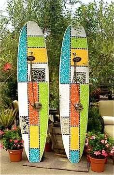 """""""Off The Grid"""" Custom Surfboard Showers Laguna Beach, CA Recycled surfboard and mirror with cut glass Mosaic Patterns, Mosaic Ideas, Custom Surfboards, Outdoor Showers, Surfboard Art, Mosaic Backsplash, Nautical Design, Outdoor Living, Outdoor Spaces"""