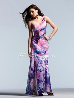 Flattering Zipper Floor-Length Sleeveless Multi-color Printed|Chiffon Sheath/Column long evening dresses -wepromdress.com