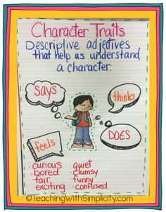 Last week I introduced character traits to my students.  We are reading Freckle Juice by Judy Blume.  Determining character traits to describe Andrew, is pretty easy.  My students are really gettin...