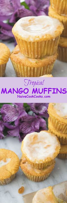 Enjoy these Tropical MANGO MUFFINS with a delicious lime glaze! Perfect summer treat! #recipes #muffins #mango #easy #dessert #eggless