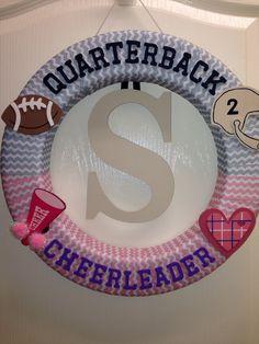 Gender reveal wreath. Quarterback or cheerleader