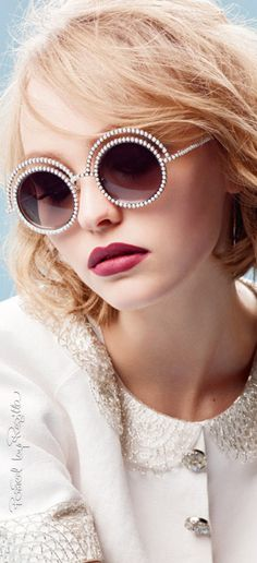 Lily-Rose Depp photographed by Karl Lagerfeld for Chanel Eyewear autumn/winter… Sunnies, Chanel Sunglasses, Sunglasses Outlet, Ray Ban Sunglasses, Cat Eye Sunglasses, Round Sunglasses, Luxury Sunglasses, Sports Sunglasses, Glasses Frames