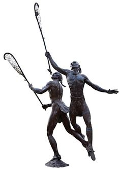 The Native American game of lacrosse could involve hundreds of players and stretch across a mile of uneven fields; contests frequently left injured players. At the Lacrosse Museum and National Hall of Fame in Baltimore, a bronze statue, below, stands in front of the building, tribute to the Indian origins of the game.