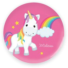 Spark & Spark Rainbow Unicorn Personalized Plate ($18) ❤ liked on Polyvore featuring home, kitchen & dining, dinnerware, personalized melamine plates, bpa free plates, round plate, bpa free melamine dinnerware and personalized plates