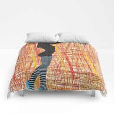 Silhouette ladies in striped stockings Comforters