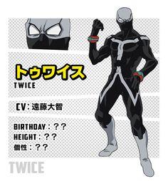 トゥワイス Character Reference Sheet, Character Bio, Character Sheet, Dc Anime, Anime Naruto, Boku No Hero Academia, Tomura Shigaraki, My Demons, Hero Academia Characters