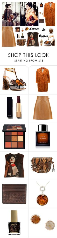 """""""Leaves & Coffees"""" by therealmodishmiss ❤ liked on Polyvore featuring Emma Watson, Sophia Webster, Alberto Biani, French Connection, Huda Beauty, BoonTheShop, Prada, Bottega Veneta, Be-Jewelled and ncLA"""