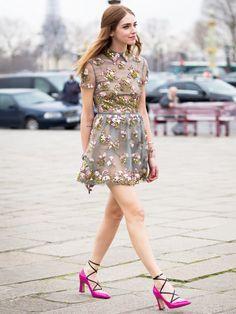 Chiara Ferragni in an embellished floral minidress