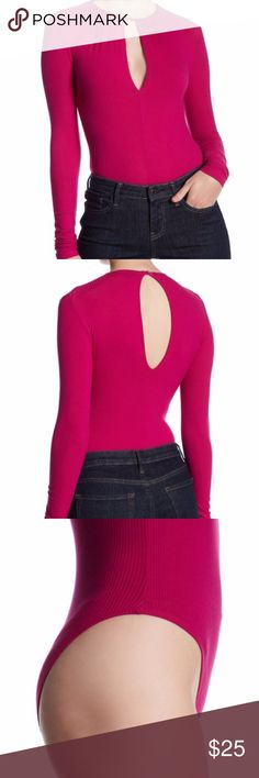 "TOPSHOP Long Sleeve Keyhole Bodysuit SIZE 6 -color: magenta - Crew neck - Long sleeves - Back keyhole with tie closure - Front keyhole - Snap button gusset - Rib knit construction - Approx. 25"" length (size US4) - Imported Fiber Content 92% viscose, 8% Lycra Care Machine wash Topshop Tops"