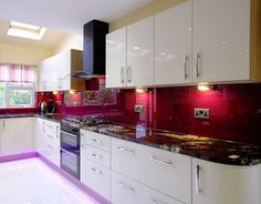glass splashbacks and countertops in any colour, kitchen or bathroom Irish company, from 200 Kitchen Design Small, Contemporary Kitchen Design, Kitchen Inspirations, Red Kitchen, Kitchen Cabinet Inspiration, Modern Kitchen, Kitchen Backsplash Images, Glass Kitchen, Red Kitchen Decor