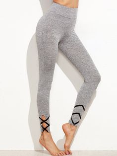 14$  Buy here - http://diurk.justgood.pw/go.php?t=9407 - Grey Marled Knit Leggings With Crisscross Detail