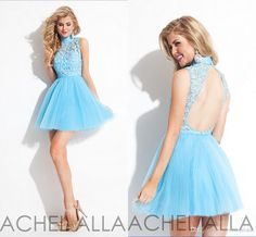 Open Back Sexy Homecoming Dresses Sheer Lace Bodice And High Collar A Line Graduation Dresses Sleeveless 2015 Ruched Tulle Simply Party Gown from Morieebridal,$114.35 | DHgate.com