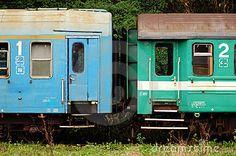 Vintage train cars.