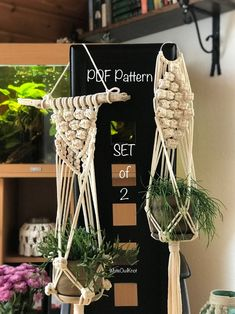 Wall Plant Hanger, Macrame Plant Hangers, Plant Wall, Macrame Patterns, Pdf Patterns, Wall Patterns, Macrame Design, Macrame Projects, Etsy Business