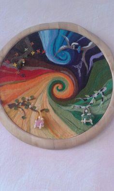 Gorgeous felted seasonal design in wooden frame. Fuzzy Felt, Wool Felt, Wet Felting, Needle Felting, Felt Mushroom, Waldorf Crafts, Felt Pictures, Kids Calendar, Felt Art