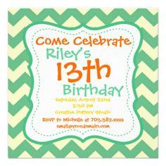 Citrus Green Chevron Birthday Party Invitations