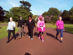 Nordic Walking moving up a pace in West Park. Some of the team warming up for the Race4Life at 7 pm 10.6.2015