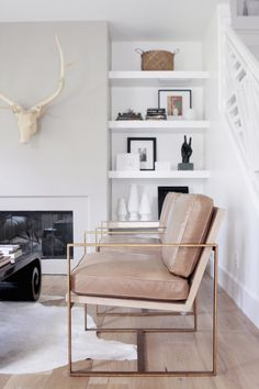 tan chair in a brass