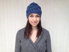 Knitted chunky blue beanie