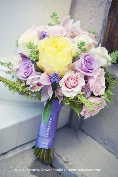 Pretty lavender, pink, and yellow bouquet. Bridal Bouquet Fall, Bridal Flowers, Bridesmaid Bouquet, Wedding Bouquets, Wedding Dresses, Love Wedding Themes, Cute Wedding Ideas, Wedding Colors, Hand Bouquet