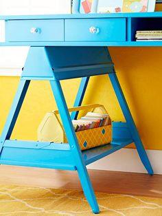 DIY Desk-Simple Desk Top made of MDF place atop metal sawhorses.so cool, despite the color!