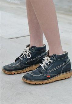 Vintage 90's Blue Old Skool Kicker Kick Hi  Boots