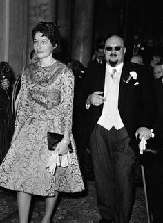 January 1962, Switzerland --- HM King Farouk I, the last king of Egypt, and his daughter HRH Princess Fawzia attending the wedding of HM King Simeon II of Bulgaria and Margarita Gomez-Acebo.