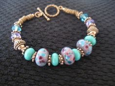 Lavender and Turquoise Handmade Lampwork Glass by LindenTreeDesign, $27.00