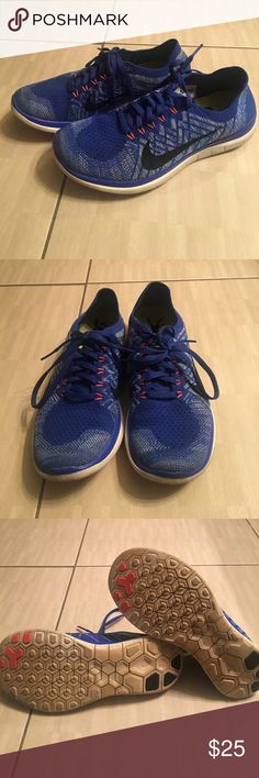 Two tone blue Nike tennis shoes size 7.5. Two tone Nike tennis shoes size 7.5. No defects except for the soles which are discolored on the bottom due to being worn at work. Nike Shoes Athletic Shoes