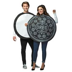 "What is better than an Oreo cookie? A double stuffed Oreo cookie! This yummy costume is a great idea for a couples Halloween costume! Costume includes two foam-backed polyester Oreo tunics. Both cookie ""halves"" arepackaged together! Add your own pant Clever Halloween Costumes, Halloween Party Supplies, Halloween Fancy Dress, Adult Halloween, Halloween Ideas, Funny Halloween, Halloween 2017, Halloween Makeup, Halloween Couples"