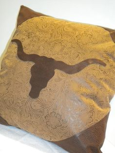 Saddle Brown Tooled Longhorn Western Pillow by BurtonLeatherCo, $25.00