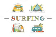 Vector line surfing illustrations. by I-RO on Creative Market