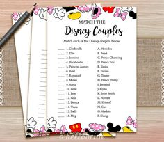 Disney Couples Match Game - Printable Disney Bridal Shower Love Song Game  - Bridal Shower Party Game - Bachelorette Party Games 009