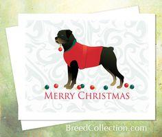 Rottweiler Christmas Card from the Breed Collection ❤  Find more Breed Collection here…. ❤ BreedCollection.com ❤ TriPodDog.Etsy.com ❤ TriPodDogDesign.RedBubble.com ❤ http://www.zazzle.com/breed_collection
