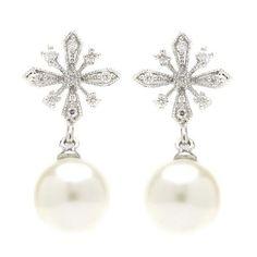 Eliana Snowflake Pearl Drop Earrings