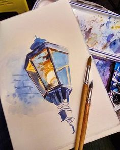 Lamp with reflection; watercolour