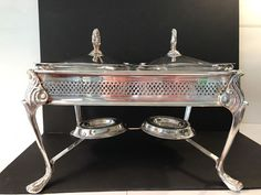 Sheridan Lion Double Silverplate Chafing Dish w/Glass Casserole Dishes burners #Sheridansilverplate