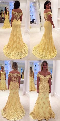yellow lace long prom dress, off the shoulder long prom dress, mermaid long prom dress, mermaid yellow lace long evening dress