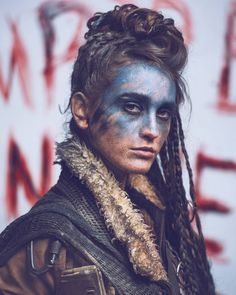 Post Apocalypse Korri, High Officer of the West Wedding Dress Perfection - Petite Or Pleasantly Plum Post Apocalyptic Costume, Post Apocalyptic Fashion, Wasteland Warrior, Tribal Makeup, Dystopian Fashion, Maquillage Halloween, Apocalypse World, War Paint, Costume Makeup