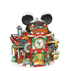 """Department 56: Products - """"Mickey Mouse Watch Factory"""" - View Lighted Buildings. Retired north pole"""