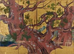 Cypress Trees screen - National treasure by Kano Eitoku - One of a pair of four-fold screens. Period Color, Japanese Screen, Japan Painting, Art Japonais, Cypress Trees, Acrylic Wall Art, Japanese Artists, Print Artist, Woodblock Print