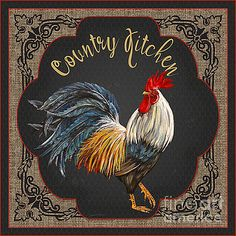 Created by Jean Plout, digital art with hand painted roosters. Rooster with typography sign would be great in your kitchen or restaurant. Rooster Painting, Rooster Art, Tole Painting, Rooster Kitchen Decor, Rooster Decor, Chicken Painting, Chicken Art, Arte Do Galo, Image Deco