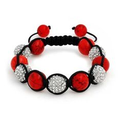 Bling Jewelry Red Magnesite Shamballa Inspired Bracelet Clear Crystal... ($21) ❤ liked on Polyvore featuring jewelry, bracelets, red, bracelet jewelry, red bracelet, clear quartz crystal jewelry, beaded jewelry and adjustable bracelet